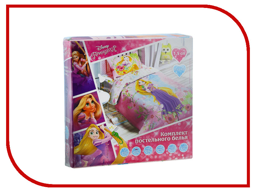 Постельное белье Disney Принцесса Рапунцель Комплект 1.5 спальный Поплин 1343982 постельное белье этель зелёно серые зигзаги комплект 1 5 спальный поплин 2565810