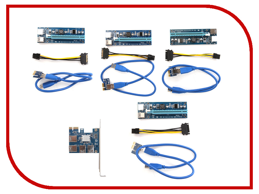 Аксессуар Espada PCI-E 1x to 4xPCI-E 16x Riser Card EPCIE4U 1pcs 2pcs 5pcs 6pin to dual 4 pin pci e pci express graphics card power adapter cable connector supply wholesale