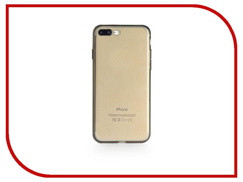 Аксессуар Чехол Gurdini Ultrathin Silicone для APPLE iPhone 7 Plus Transparent-Black аксессуар чехол бампер burkley snap on для apple iphone 7 plus black bmcujblrst1i7p
