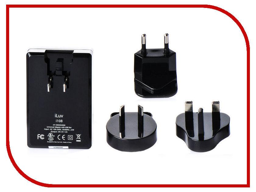 Зарядное устройство iLuv Traver Adapter Kit i108 2A Black apple world travel adapter kit md837zm a
