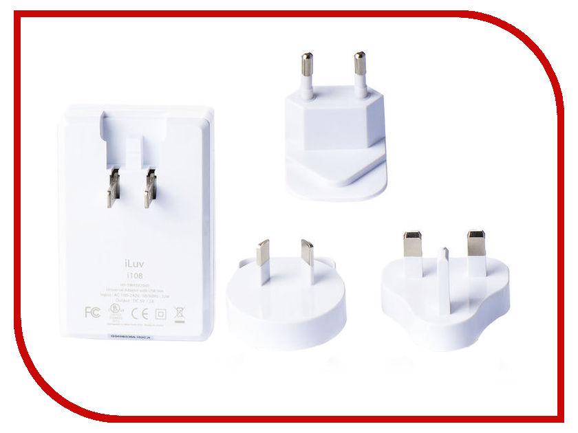 Зарядное устройство iLuv Traver Adapter Kit i108 2A White apple world travel adapter kit md837zm a