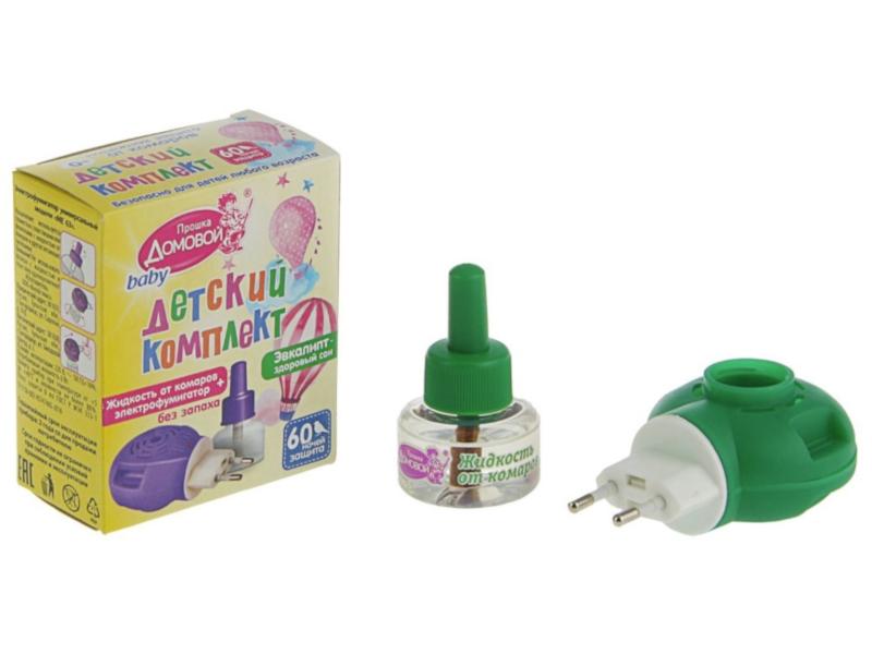 Средство защиты от комаров Домовой Прошка Л101 - жидкость детская с экстрактом эвкалипта 60 ночей + фумигатор