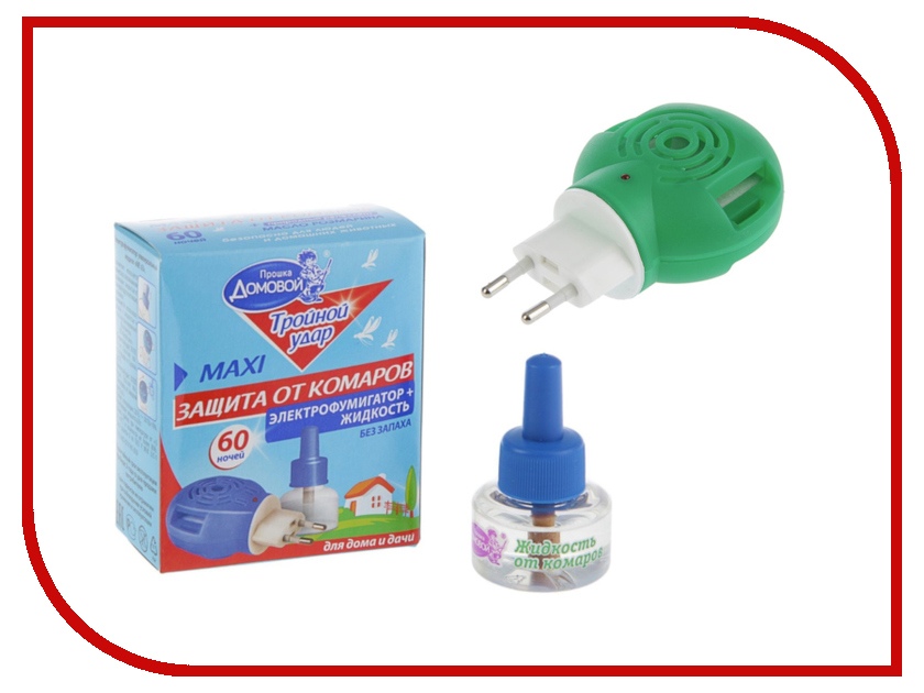 Средство защиты от комаров Домовой Прошка Л100 - комплект жидкость Тройной Удар 60 ночей + фумигатор