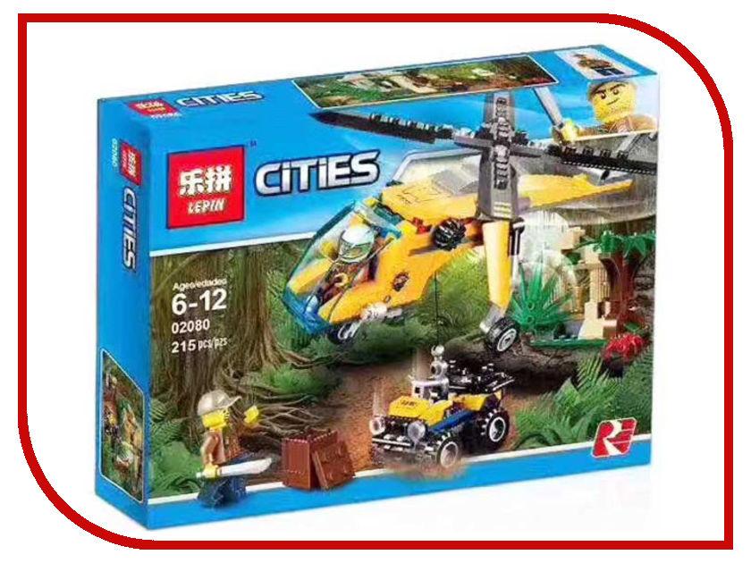 Конструктор Lepin Cities Грузовой вертолёт исследователей джунглей 215 дет. 02080 конструктор lepin cities рыболовный катер 159 дет 02028