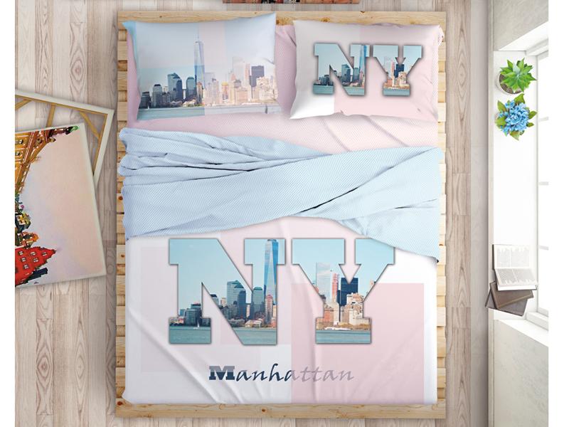 Постельное белье LOVE ME Manhattan Dreams Комплект Евро Перкаль 198972