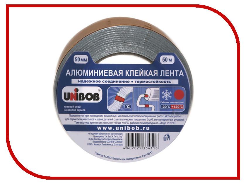 Клейкая лента алюминиевая Unibob 50mm x 50m 67668 лента stayer profi клейкая противоскользящая 50мм х 5м 12270 50 05