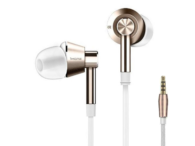1MORE Single Driver 1M301 White-Gold 1more 1m301 dynamic driver in ear earphone 80% metal diaphragm with microphone control of volume for ios