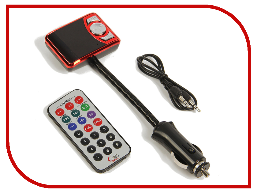 FM-Трансмиттер СИМА-ЛЕНД USB/Mp3/WMA/AUX/MicroSD Red 2506801