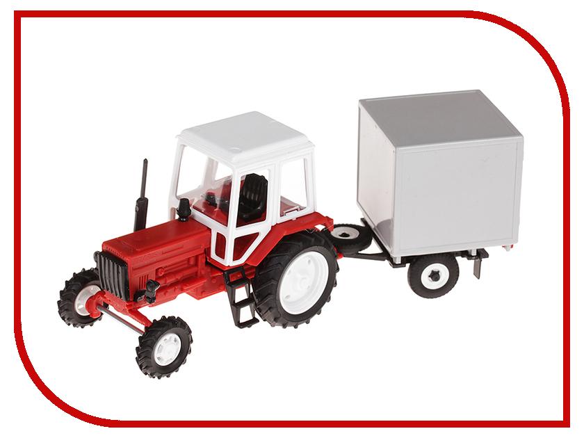 Игрушка Мир отечественных моделей Трактор МТЗ-82 с прицепом будка 24/24 1:43 502