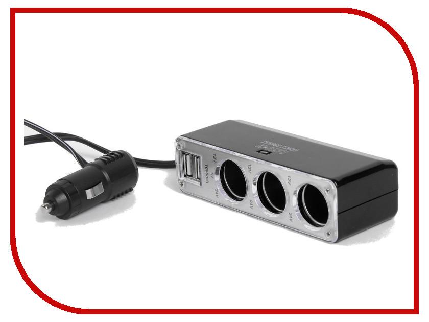 Разветвитель СИМА-ЛЕНД 3 входа + 2 USB 12/24 В 2499674 разветвитель сима ленд 3130973 black