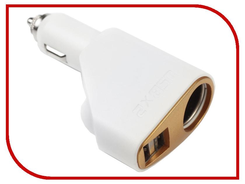 Разветвитель СИМА-ЛЕНД 2 USB 2.1 A 12/24 В White 2702585 разветвитель сима ленд 3130973 black