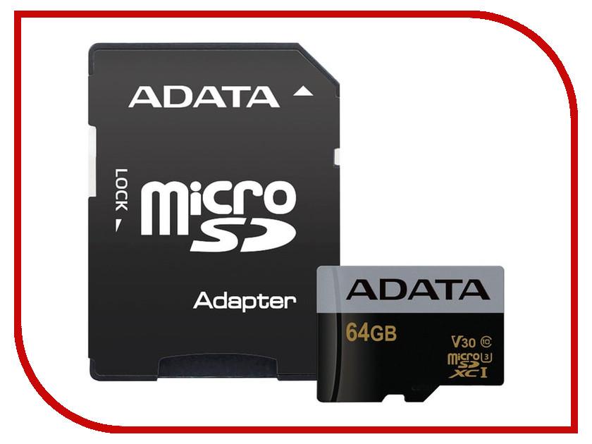 Карта памяти 64Gb - A-Data Premier - Micro Secure Digital XC Class 10 UHS-I U3 AUSDX64GUI3V30G-RA1 transcend sdxc class 10 uhs i u3х 64gb карта памяти