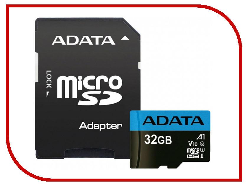 Карта памяти 32Gb - A-Data Premier - Micro Secure Digital HC Class 10 UHS-I U1 AUSDH32GUICL10A1-RA1 с переходником под SD цены онлайн