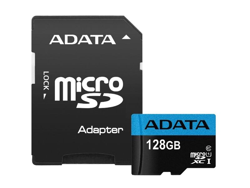 Карта памяти 128Gb - A-Data Premier Micro Secure Digital XC Class 10 UHS-I AUSDX128GUICL10A1-RA1 с переходником под SD