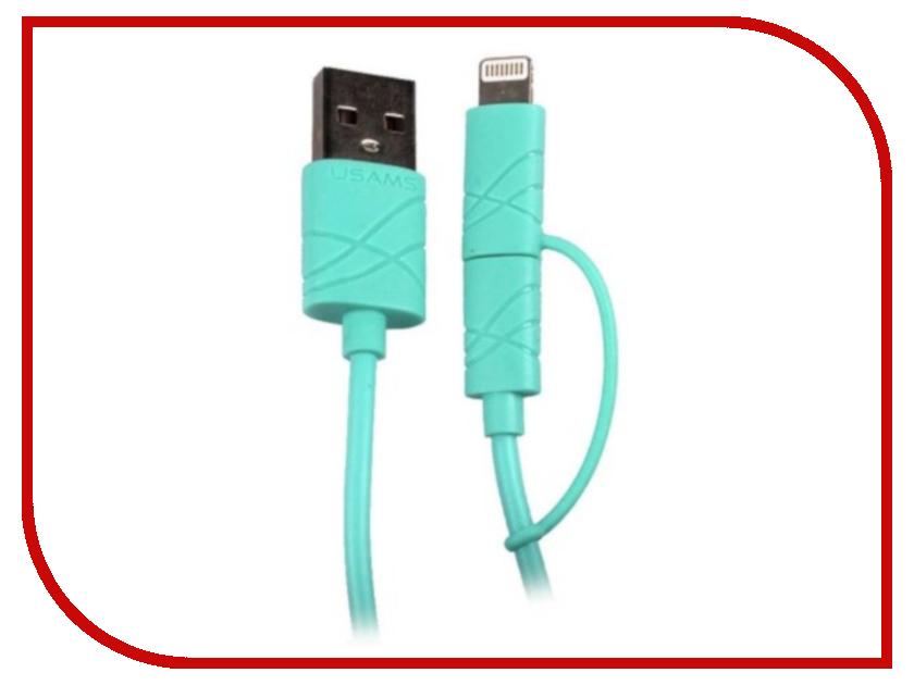 Аксессуар USAMS U-Gee Series US-SJ077 2в1 USB - MicroUSB/Lightning (8-pin) Green аксессуар usams u trans series us sj019 2в1 usb microusb lightning 8 pin blue