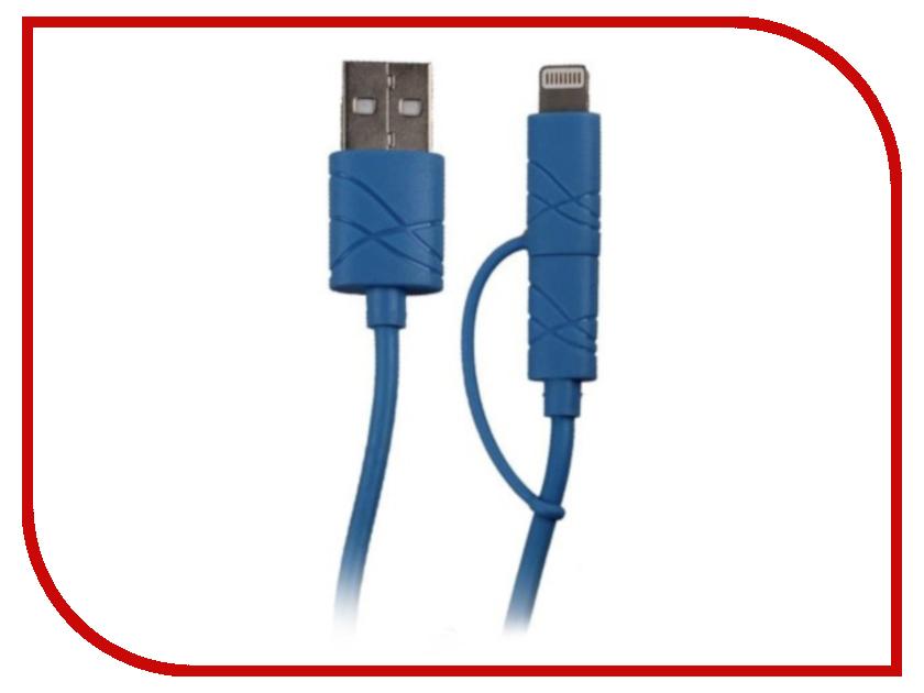 Аксессуар USAMS U-Gee Series US-SJ077 2в1 USB - MicroUSB/Lightning (8-pin) Blue аксессуар usams u trans series us sj019 2в1 usb microusb lightning 8 pin blue