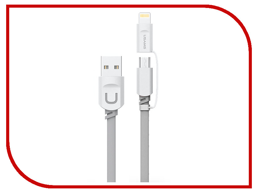 Аксессуар USAMS U-Trans Series US-SJ019 2в1 USB - MicroUSB/Lightning (8-pin) Grey аксессуар usams u trans series us sj019 2в1 usb microusb lightning 8 pin blue