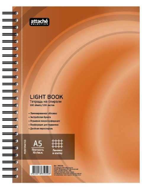Бизнес-тетрадь Attache Selection LightBook A5 100 листов Orange 494596