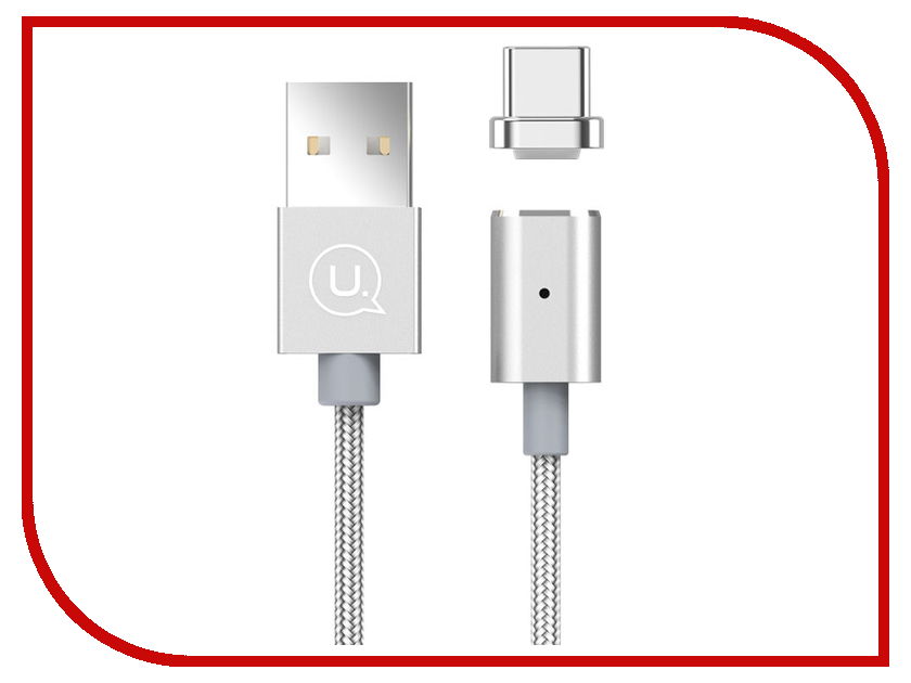 Аксессуар USAMS U-Link Series US-SJ143 USB - Type-C Magnet Cable Silver silver u type anodized aluminium led strip profile with clear transparent cover for cabinet kitchen led lighting
