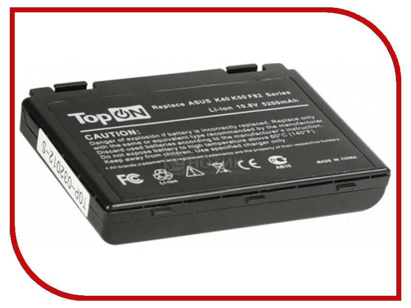 Аккумулятор TopON TOP-K50 5200mAh for ASUS K40 / K50 / K51 / K60 / K61 / K70 / P50 / P81 / F52 / F82 / X65 / X70 / X5 / X8 Series