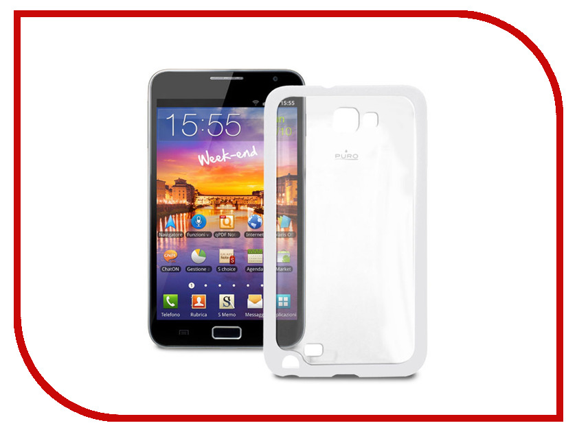 Аксессуар Чехол Samsung Galaxy Note PURO Clear Cover пластиковый White GNOTECLEARWHI<br>