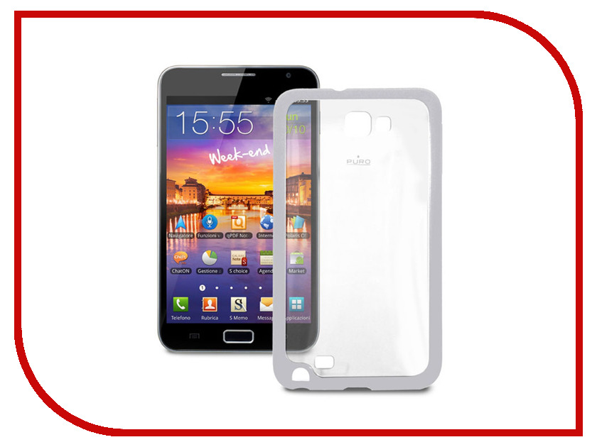 Аксессуар Чехол Samsung Galaxy Note PURO Clear Cover пластиковый Grey GNOTECLEARGREY<br>
