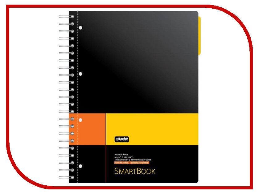Бизнес-тетрадь Attache Selection Smartbook A4 120 листов Yellow-Orange 272651 цена
