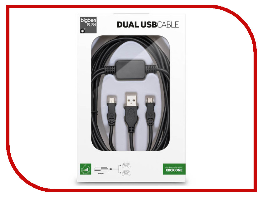 Кабель Big Ben Interactive Play Xbox One Dual USB Cable XB1DUALUSBCHARGE аксессуар big ben interactive hdmi 2 5m multihdmilx2