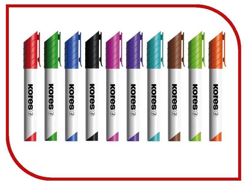 Маркер Kores 3mm набор 10 цветов 691269 маркер kores 1mm red 282355
