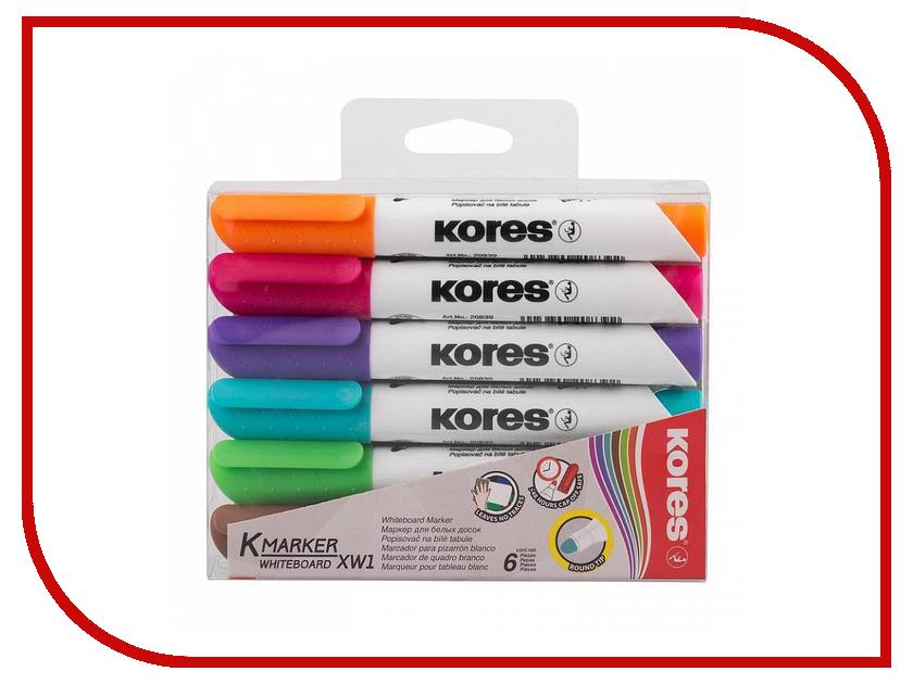 Маркер Kores 3mm набор 6 цветов 691268 маркер kores 1mm red 282355