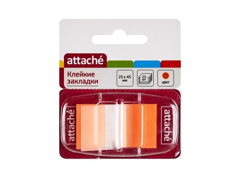 Стикеры Attache 25x45mm 25 листов Orange 166085