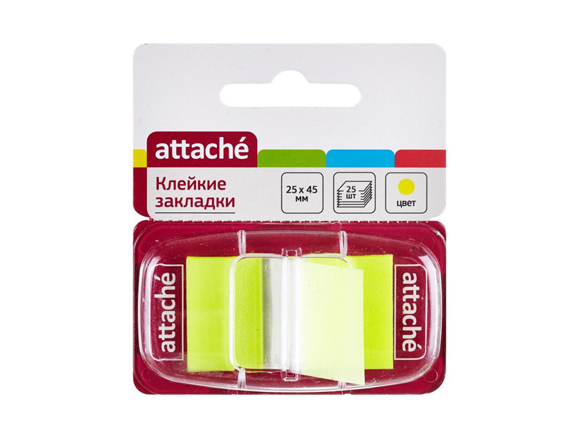 Стикеры Attache 25x45mm 25 листов Yellow 166081