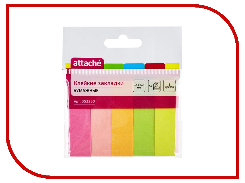Стикеры Attache 14x50mm 250 листов 5 цветов 353250 стикеры attache эконом 90x90x90mm white 314593
