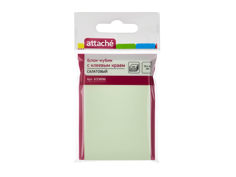 Стикеры Attache 76x51mm 100 листов Light Green 633896