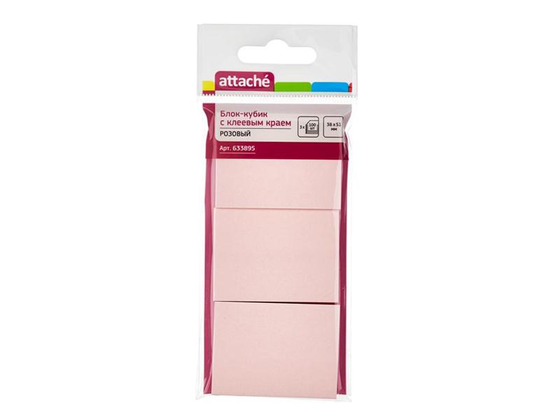 Стикеры Attache 38x51mm 300 листов Pink 633895
