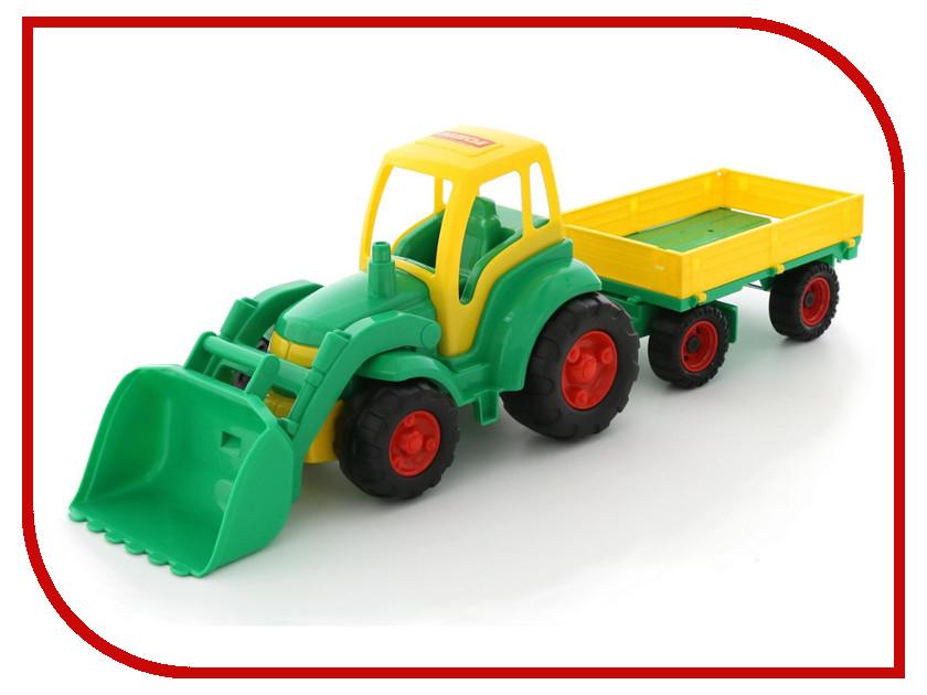 Игрушка Полесье Трактор Чемпион с ковшом и прицепом 0520 трактор с ковшом пламенный мотор зелёный от 6 лет пластик 87575