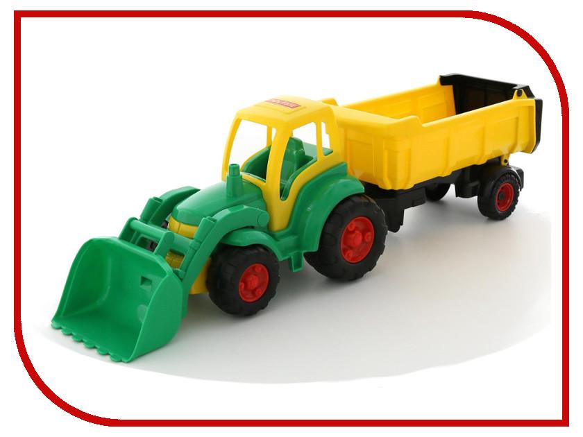 Игрушка Полесье Трактор Чемпион с ковшом и полуприцепом 0438 трактор с ковшом пламенный мотор зелёный от 6 лет пластик 87575