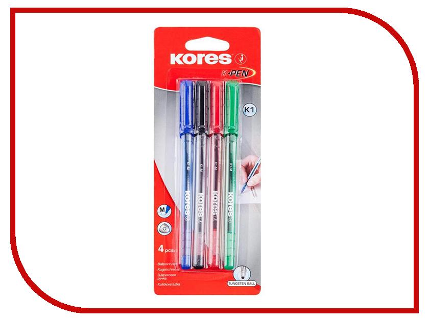 Ручка шариковая Kores 4шт 270431 маркер kores 1mm red 282355