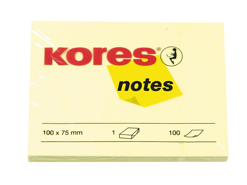 Стикеры Kores 100x75mm 100 листов Yellow 56392