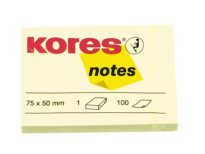 Стикеры Kores 75x50mm 100 листов Yellow 56395