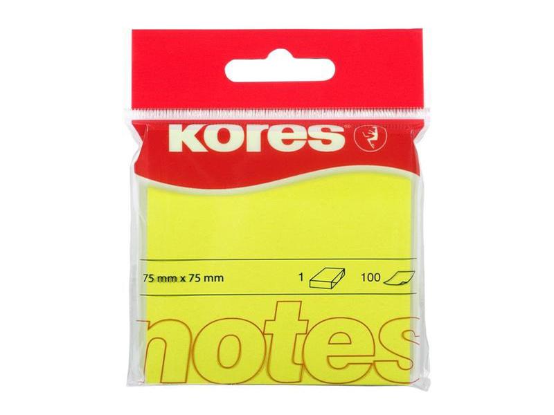 Стикеры Kores 75x75mm 100 листов Neon Yellow 330460
