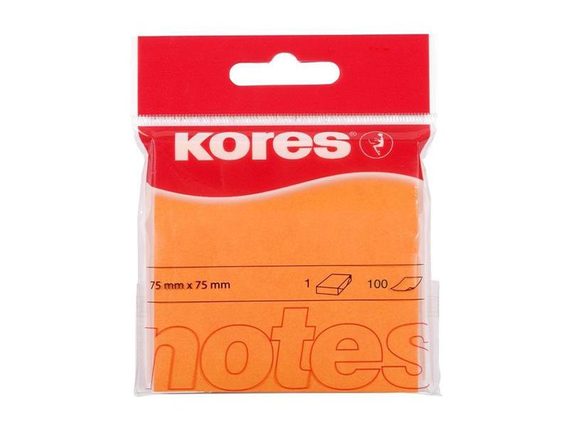 Стикеры Kores 75x75mm 100 листов Neon Orange 330459