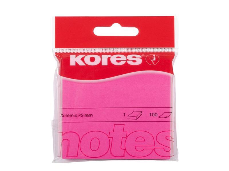 Стикеры Kores 75x75mm 100 листов Neon Pink 330461
