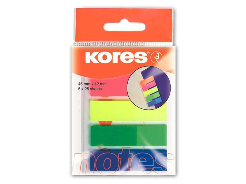 Стикеры Kores Film 12x45mm 125 листов 5 цветов 62860