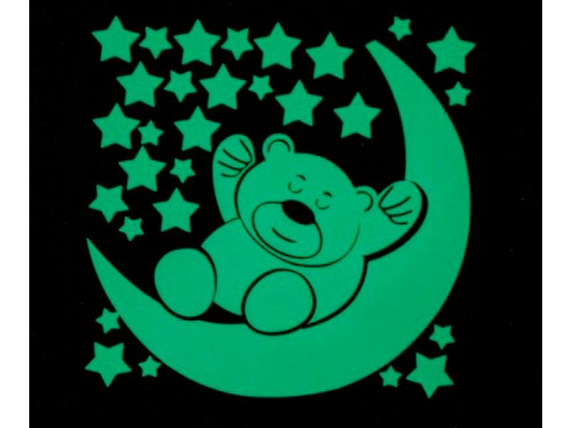 Набор для творчества Наклейка декоративная Freeze Light Мишка и месяц FL-НДМес-18