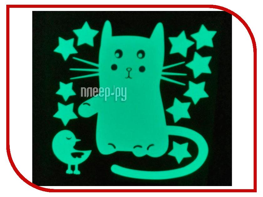 Наклейка декоративная Freeze Light Кот и воробей FL-НДКВ-18