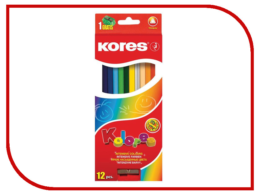 Карандаши цветные Kores 12 цветов 128902 маркер kores 1mm red 282355