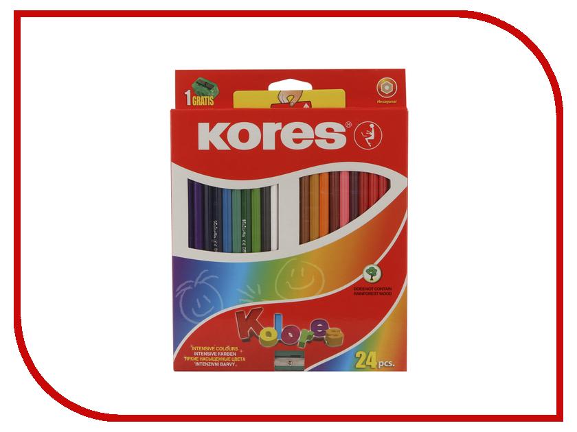 Карандаши цветные Kores 24 цвета 128903 centrum карандаши цветные monster high