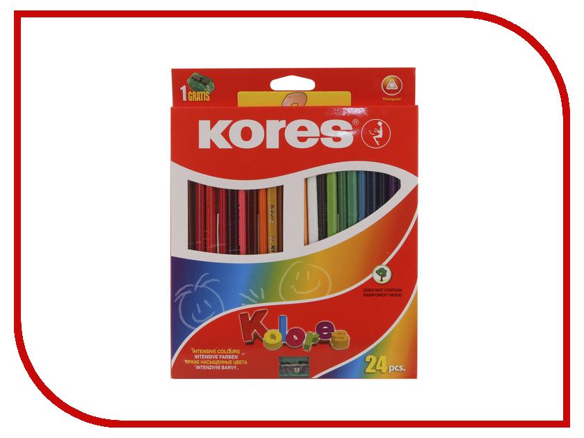 Карандаши цветные Kores 24 цвета 128900 маркер kores 1mm red 282355