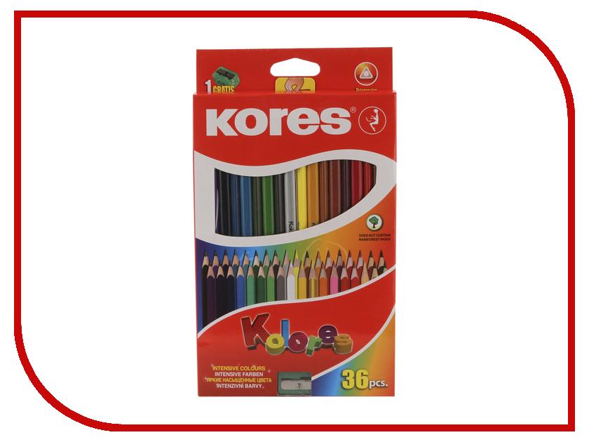 Карандаши цветные Kores 36 цветов 128904 карандаши цветные kores 48 цветов 24шт 128907